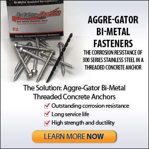 Aggre-Gator 300 Series Bi-Metal Fasteners for masonry construction