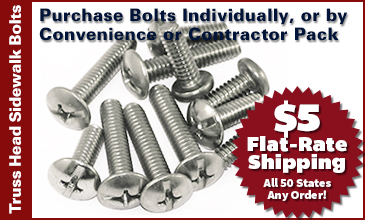 Truss Head Sidewalk Bolts in Convenience or Contractor Pack
