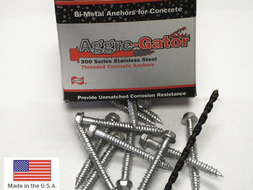 "1/4"" x 3-1/4"" Hex Washer Head Masonry Anchor in 18-8 Stainless Steel"