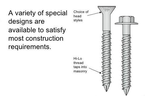 "1000 Pack 1//4/"" X 2-3//4/"" Flat Head Concrete Masonry Tapcon Anchor Screw"