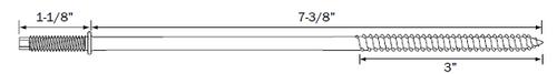 "7-3/8"" PanelMate Pro TVAS in 18-8 Stainless Steel with 1-1/8"" Stud"