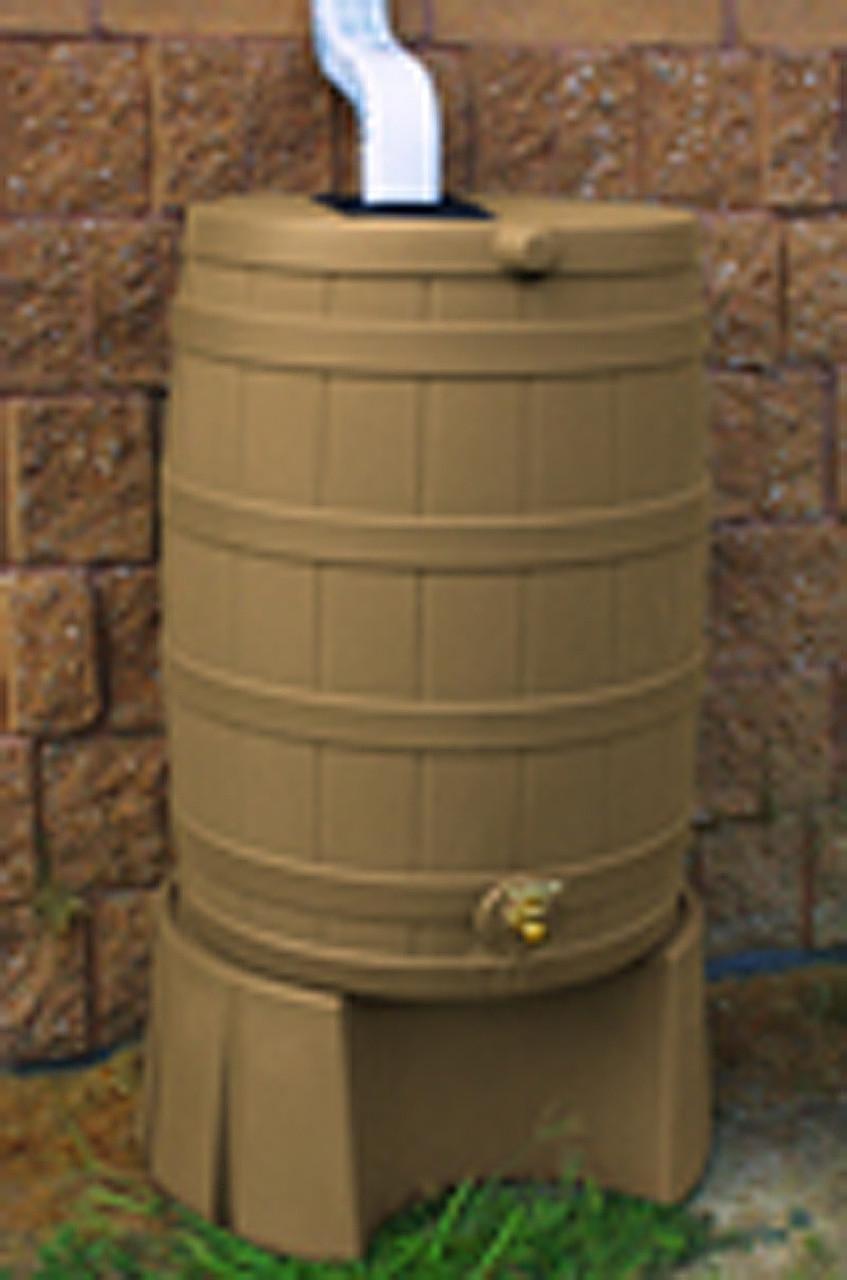 40 Gallon Flat Back Rain Barrel Good Ideas Khaki W