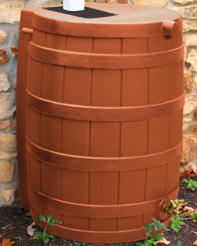 terra cotta rain barrel