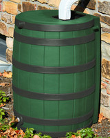 40 Gallon Flat Back - Good Ideas Rain Barrel - GREEN w/ Black Ribs