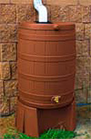 50 Gallon Flat Back - Good Ideas Rain Barrel - TERRA COTTA & Stand