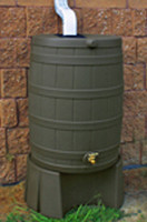 40 Gallon Flat Back - Good Ideas Rain Barrel - OAK & Stand