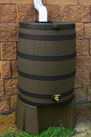 40 Gallon Flat Back - Good Ideas Rain Barrel - OAK Ribs & Stand