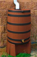 40 Gallon Flat Back - Good Ideas Rain Barrel - TERRA COTTA Ribs & Stand