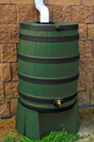 50 Gallon Flat Back - Good Ideas Rain Barrel - GREEN Ribs & Stand