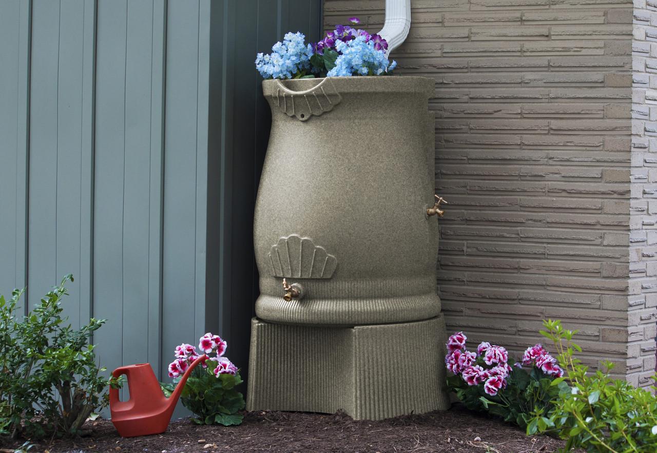 Good Ideas Rain Wizard Urn rain barrel stand for 50 or 65 gallon rain barrel