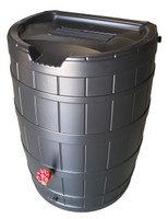 Poly-Mart SpringSaver 50 Gallon Rain Barrel - Recycled Black