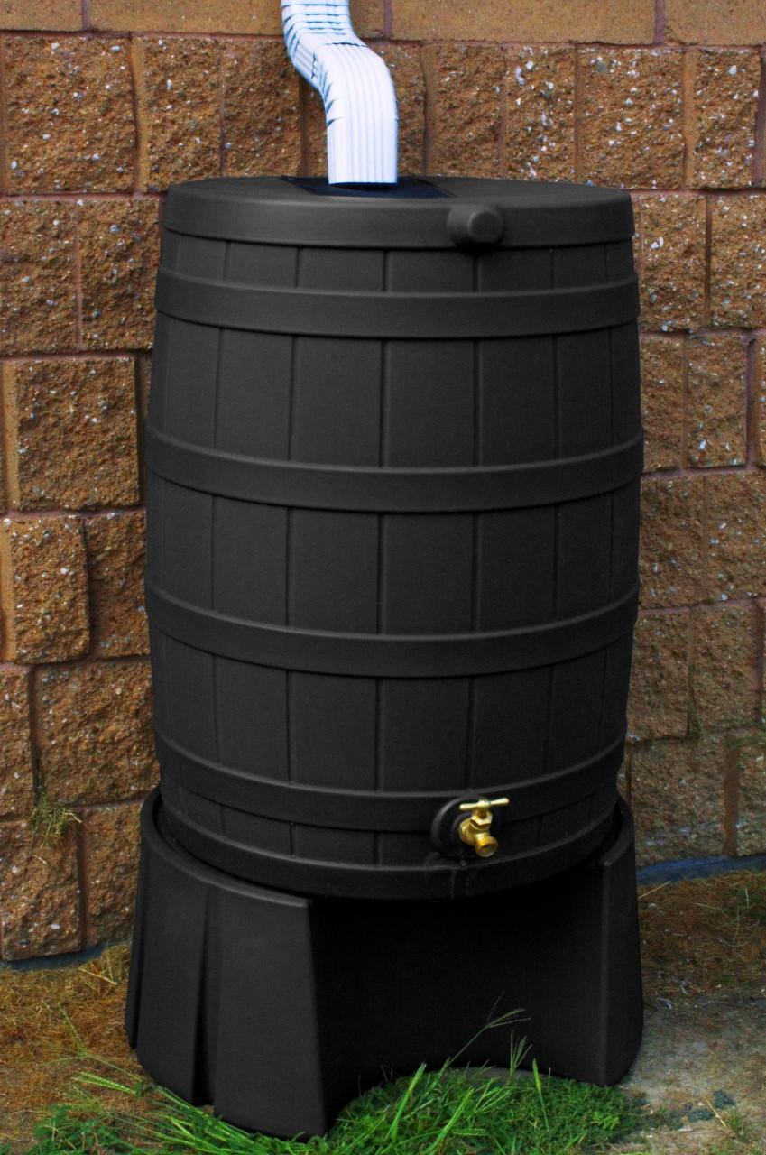 Good Ideas Black Rain Barrel With Stand