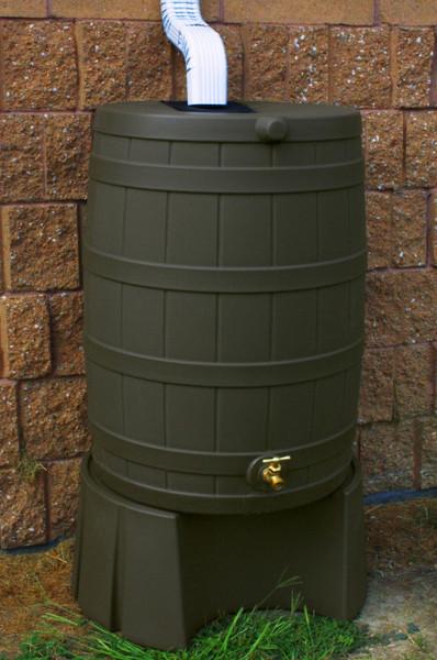 50 Gallon Flat Back - Good Ideas Rain Barrel - Oak  Stand-5013