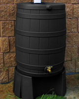40 Gallon Flat Back - Good Ideas Rain Barrel - BLACK & Stand