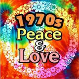 1970s Peace & Love with a colorful peace sign in the background