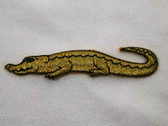 Gold Metallic Alligator Embroidered Iron On Applique Patch