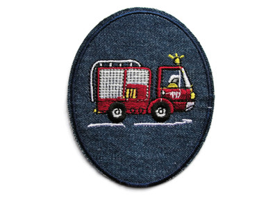 Fire Truck Fireman Applique Denim Embroidered Iron On Applique Patch 3.75 Inches