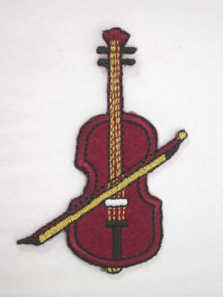 Violin Embroidered Iron On Applique Patch w Gold