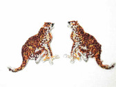 Cheetah Pair Embroidered Iron On Applique Patch 1.75