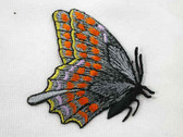 Sideview Butterfly Grey Orange Yellow Iron On Patch