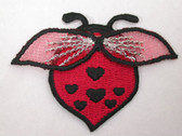 Ladybug Gossamer Wings Hearts Embroidered Iron On Patch