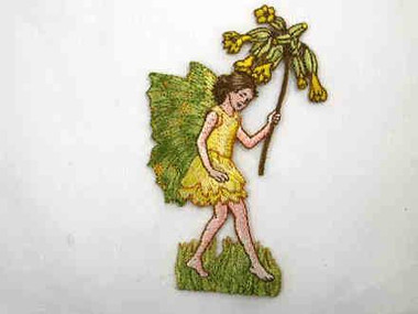 Yellow Fairy Pixie w Flowers Iron On Patch 4 Inch