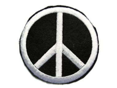 Black White Peace Sign Embroidered Iron On Patch Applique 2.5 Inches