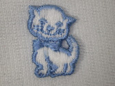 Two White Blue Kitten Cat Embroidered Sew On Patches