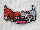 Puppy Dog Kitten Cat w Bowl Iron On Patch