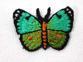 Teal Apple Green Butterfly Embroidered Iron On Patch