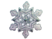Snowflake Organza Metallic Blue White Embroidered Iron On Patch 1.88 Inches