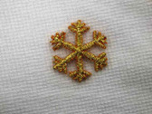 Gold Metallic Snowflake Embroidered Iron On Patch E