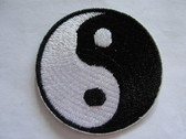 Ying Yang Black White Embroidered Iron On Patch 2 Inch