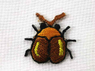 Bronze Beetle Bug B Embroidered Iron On Patch .75 In