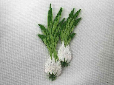 Onion Scallions Vegetable Embroidered Iron On Applique Patch