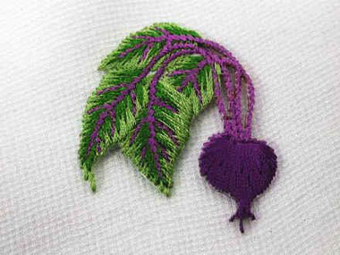 Purple Beet Vegetable Embroidered Iron On Applique Patch