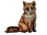 Sitting Natural Fox Embroidered Iron On Patch