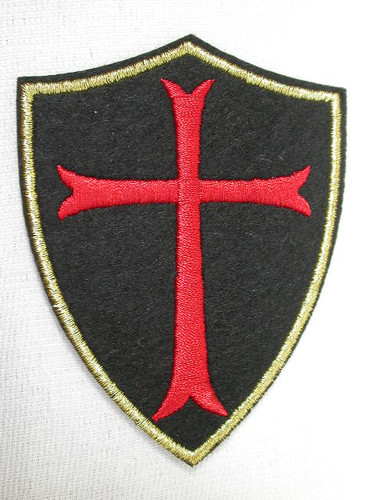 Black Red Cross Gold Edge Heraldic Emblem Badge Iron On Applique Patch