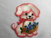 Cute Puppy Flower Basket Iron On Applique Patch