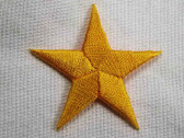 Star Sunny Yellow Embroidered Iron On Patch 1.75 In