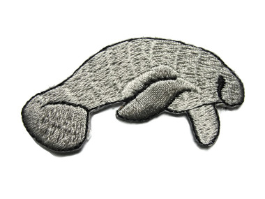 Single Manatee Embroidered Iron On Patch