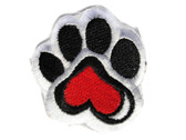 Paw Print with Red Heart Black White 2 Inch Embroidered Iron On Patch Applique