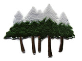 Snow Capped Pine Tree Group Iron On Patch 3.88 Inches