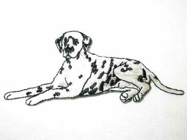 Dalmatian Seated Embroidered Iron On Applique Patch