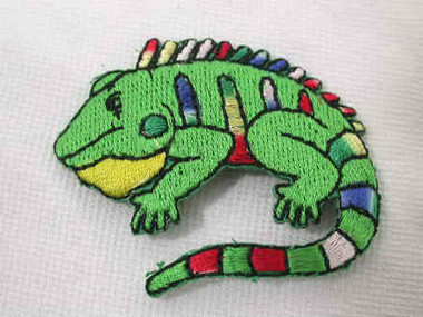 Cute Iguana Lizard Child Embroidered Iron On Applique Patch