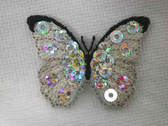 Silver Black Butterfly Sequin Embroidered Iron On Patch