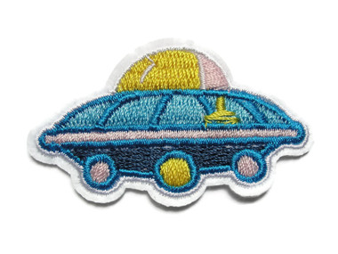 Comical Space Ship Pod Embroidered Iron On Patch Applique 2.25 Inches