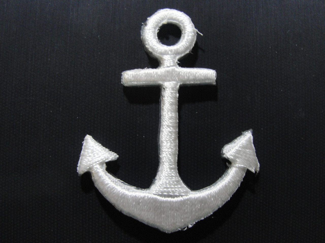 White nautical anchor embroidered iron on patches 1.38 inches