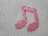 Double Pink Musical Note Iron On Applique Patch 1.5 In