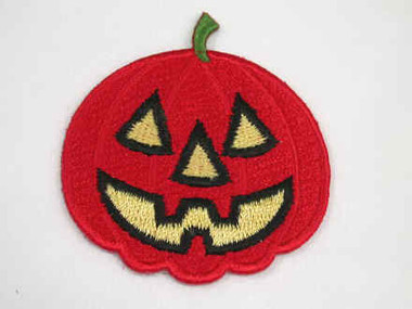 Pumpkin Jack O Lantern Embroidered Iron On Patch 2 Inch